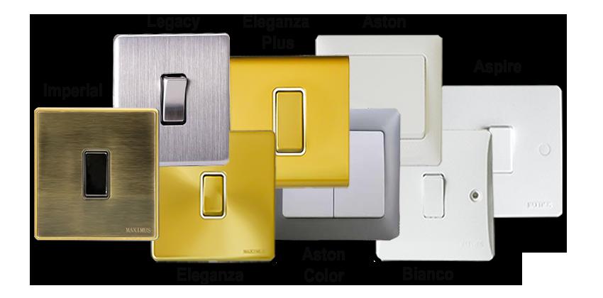 maximus switch sockets range